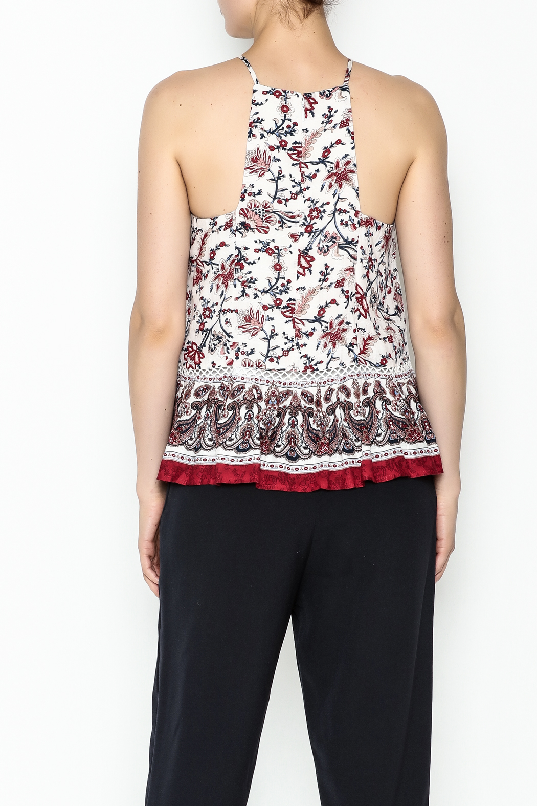 Moon River Printed Pleated Blouse - Back Cropped Image