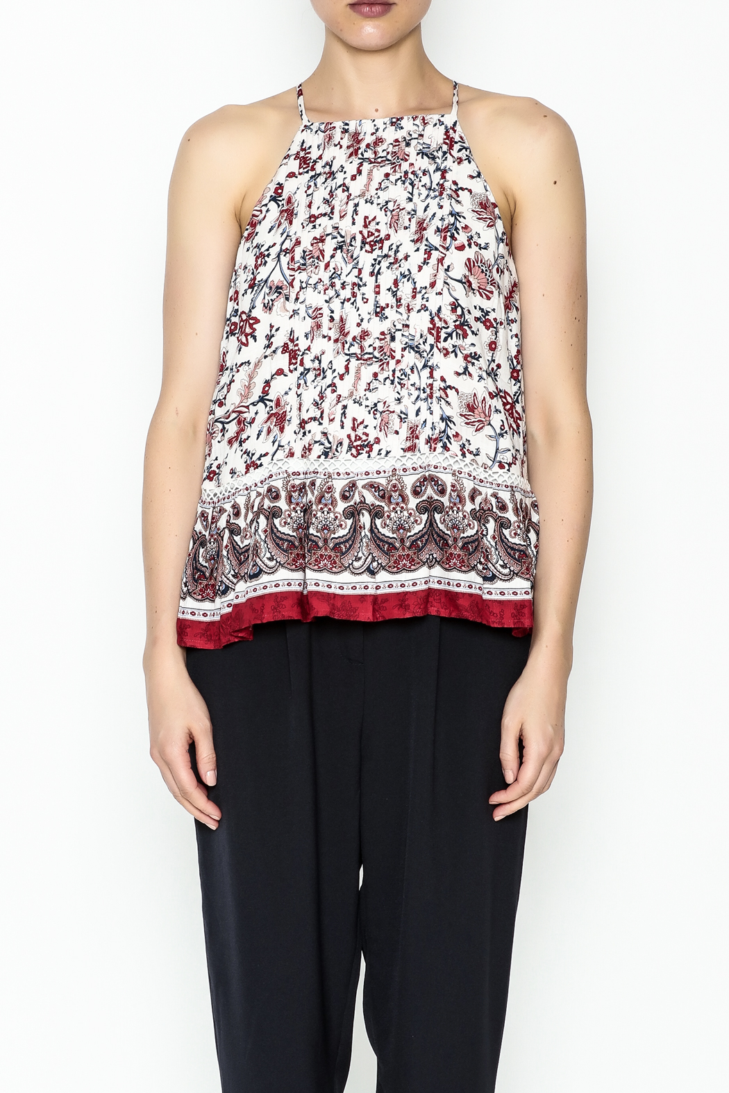 Moon River Printed Pleated Blouse - Front Full Image