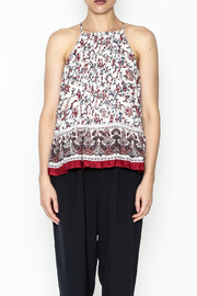 Moon River Printed Pleated Blouse - Front full body