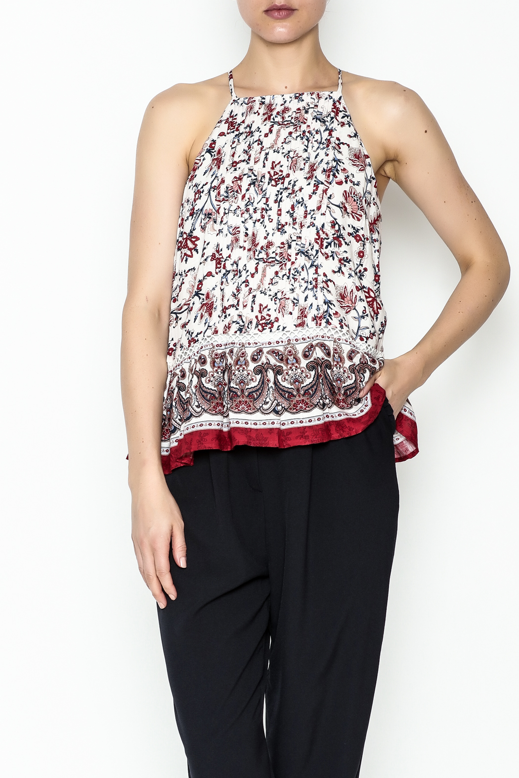 Moon River Printed Pleated Blouse - Main Image