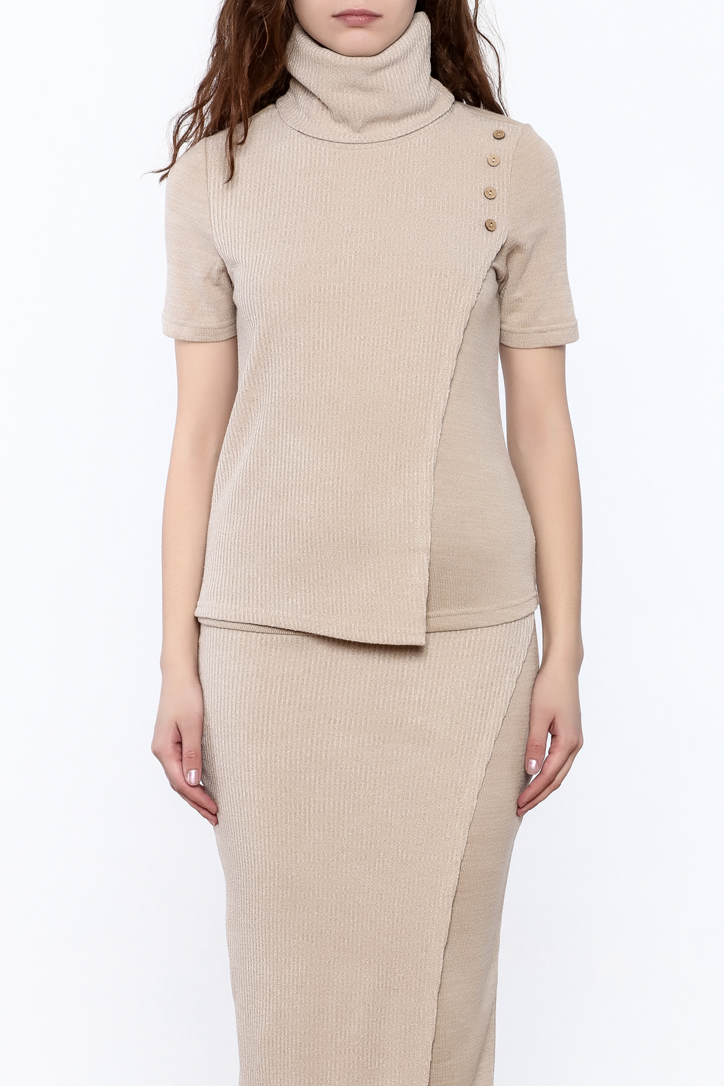 Moon River Beige Turtleneck Sweater - Side Cropped Image