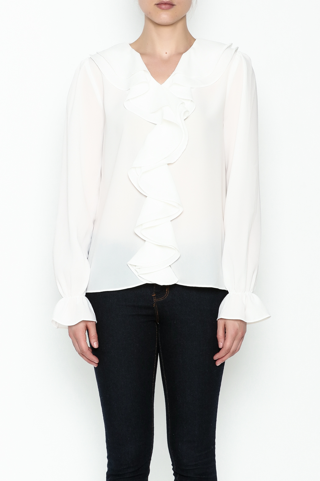 Moon Ruffle White Blouse - Front Full Image