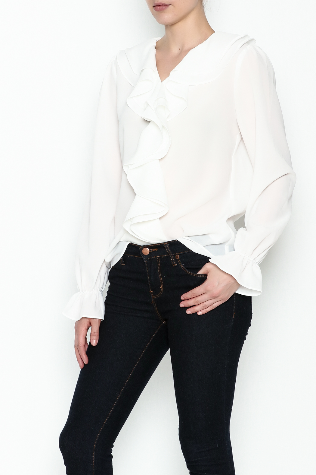 Moon Ruffle White Blouse - Front Cropped Image