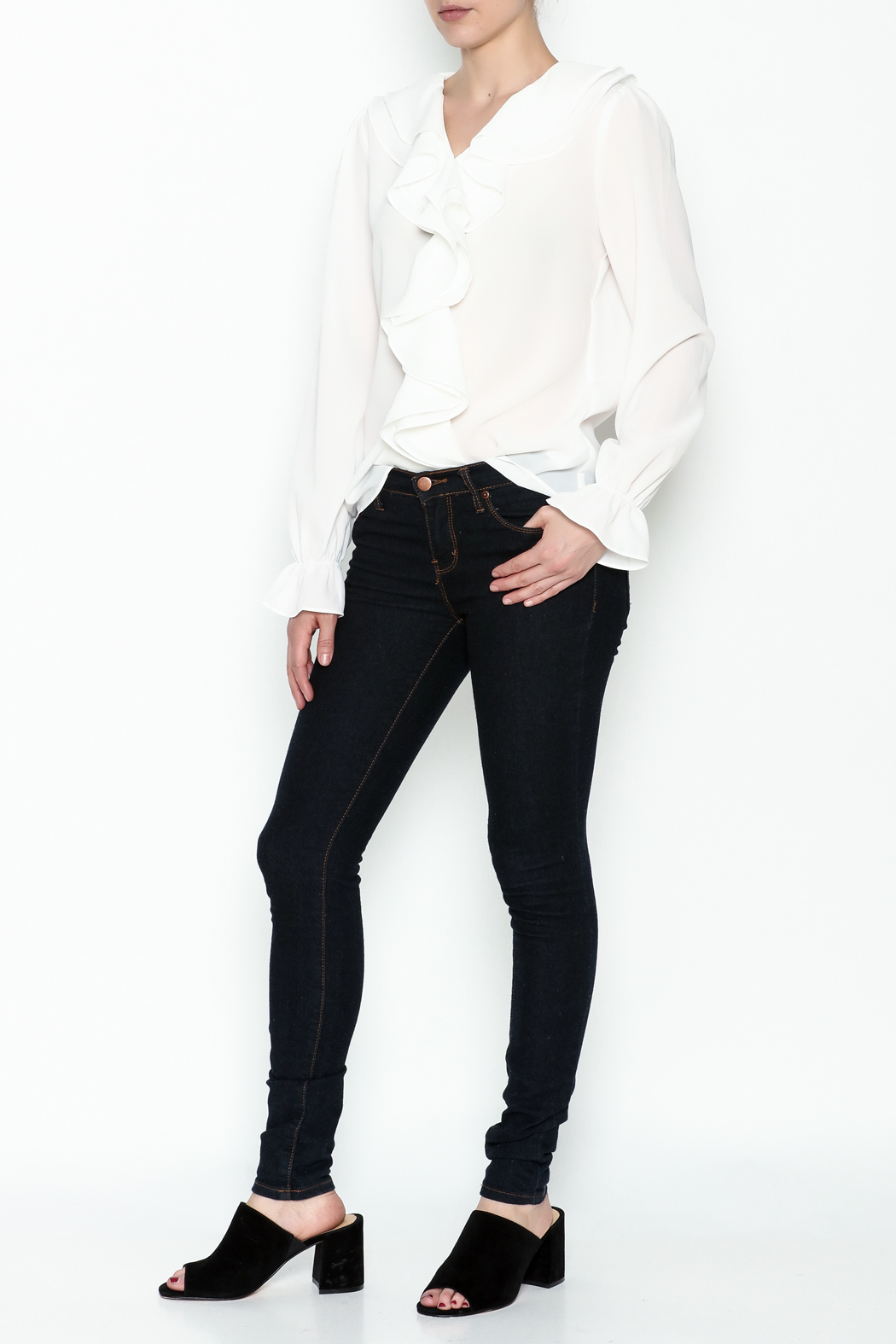 Moon Ruffle White Blouse - Side Cropped Image