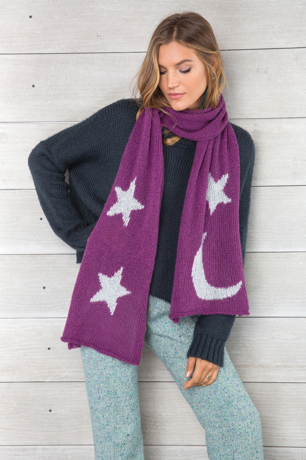 Wooden Ships Moon & Stars Scarf - Side Cropped Image