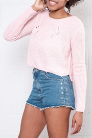 Moon Collection Cropped Knit Sweater - Front full body