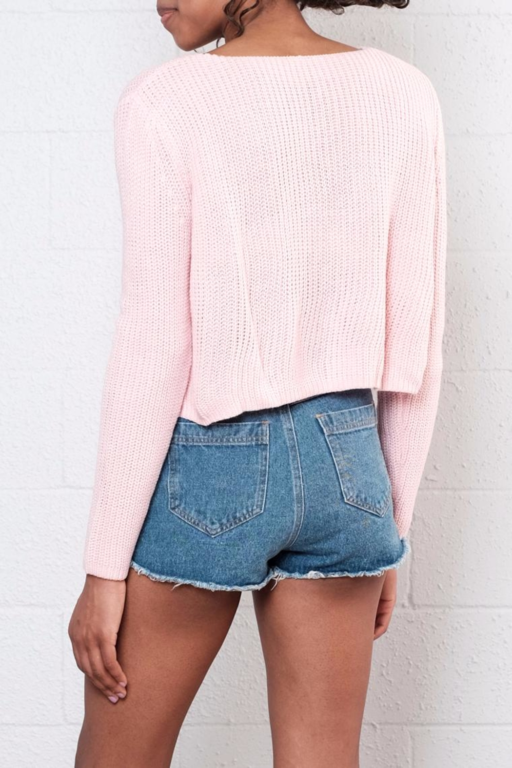 Moon Collection Cropped Knit Sweater - Side Cropped Image