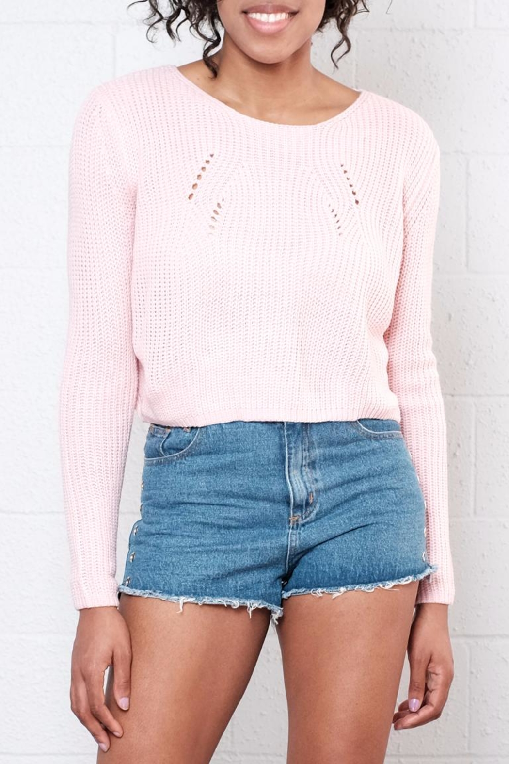 Moon Collection Cropped Knit Sweater - Main Image