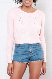 Moon Collection Cropped Knit Sweater - Front cropped