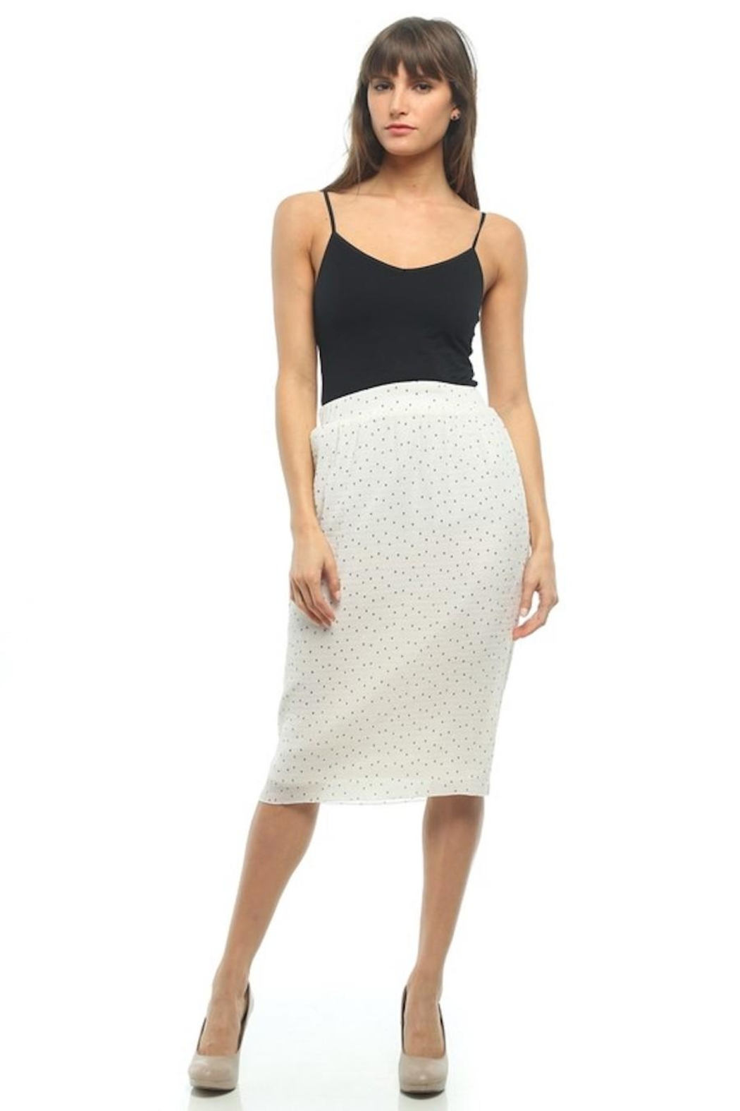 Moon Collection Dainty-Dots Pencil Skirt - Back Cropped Image