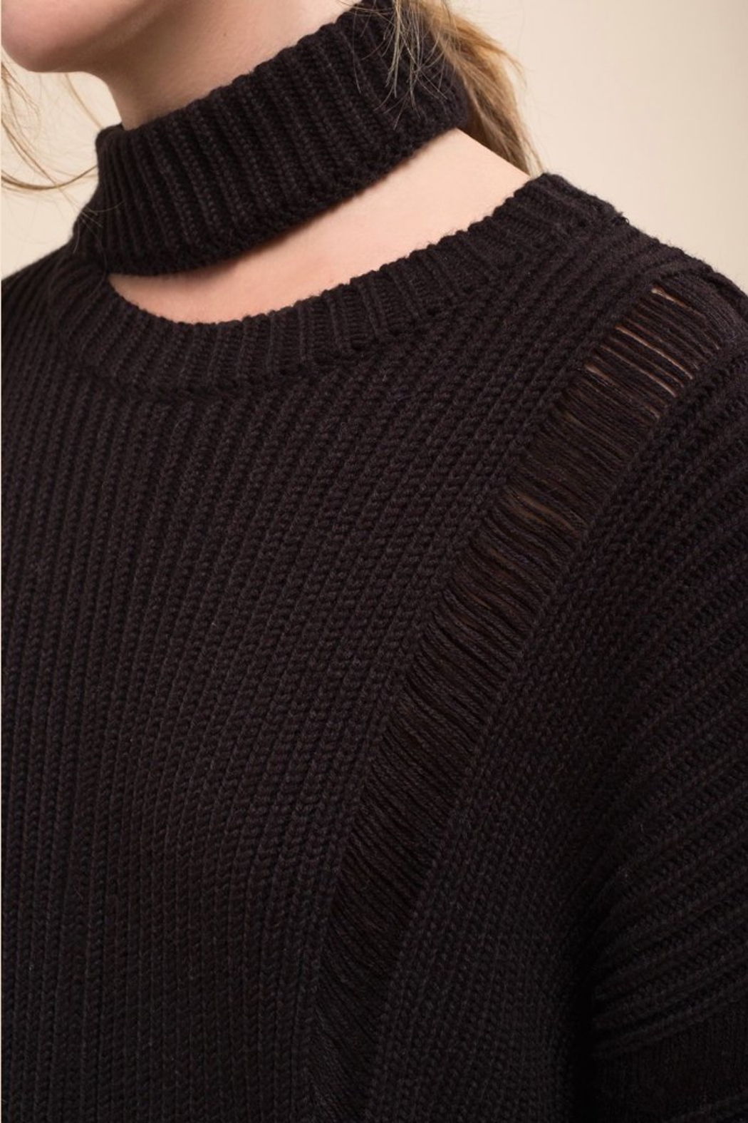 Moon River Asymmetric Destroyed Sweater - Side Cropped Image