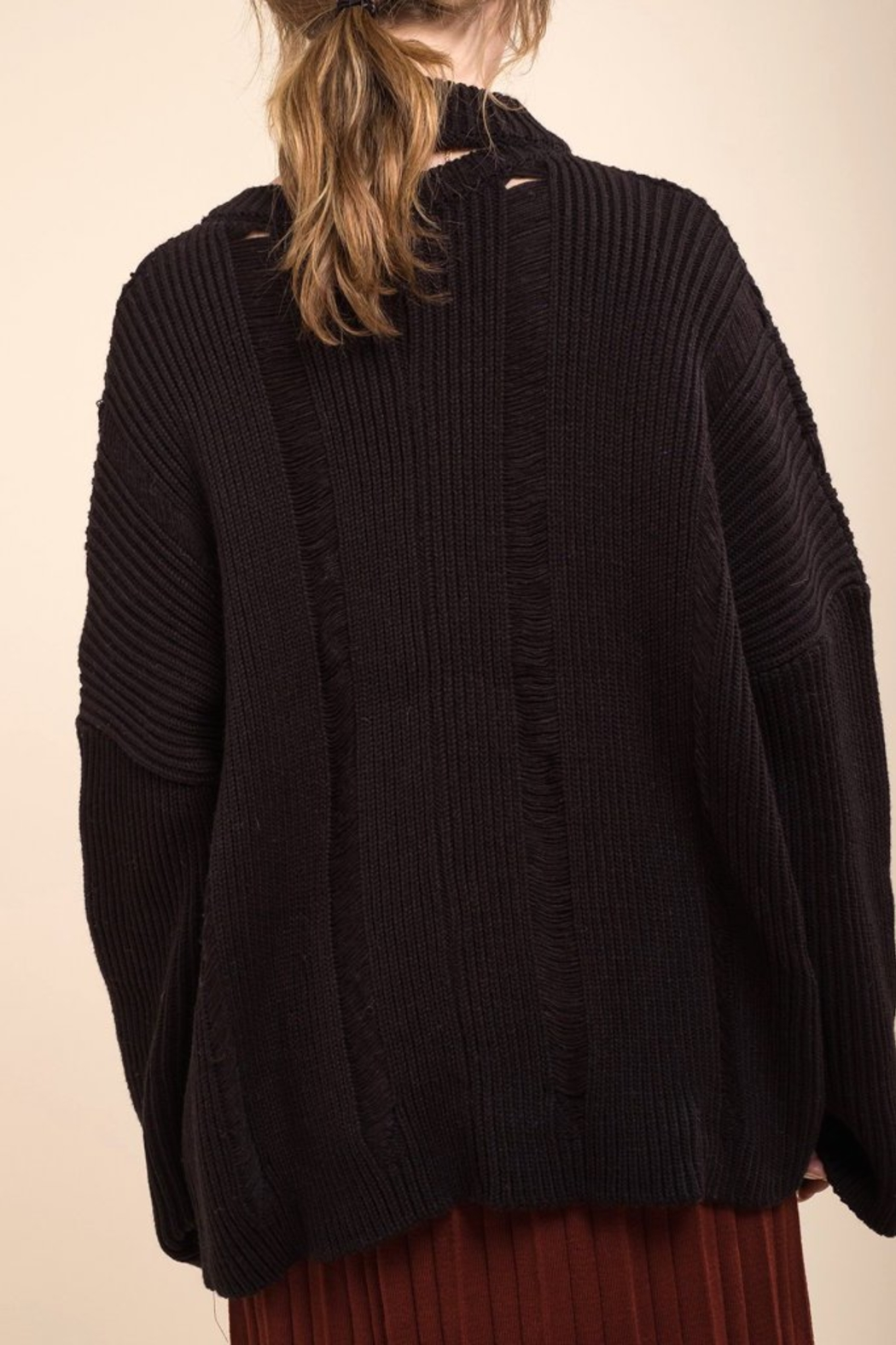 Moon River Asymmetric Destroyed Sweater - Back Cropped Image