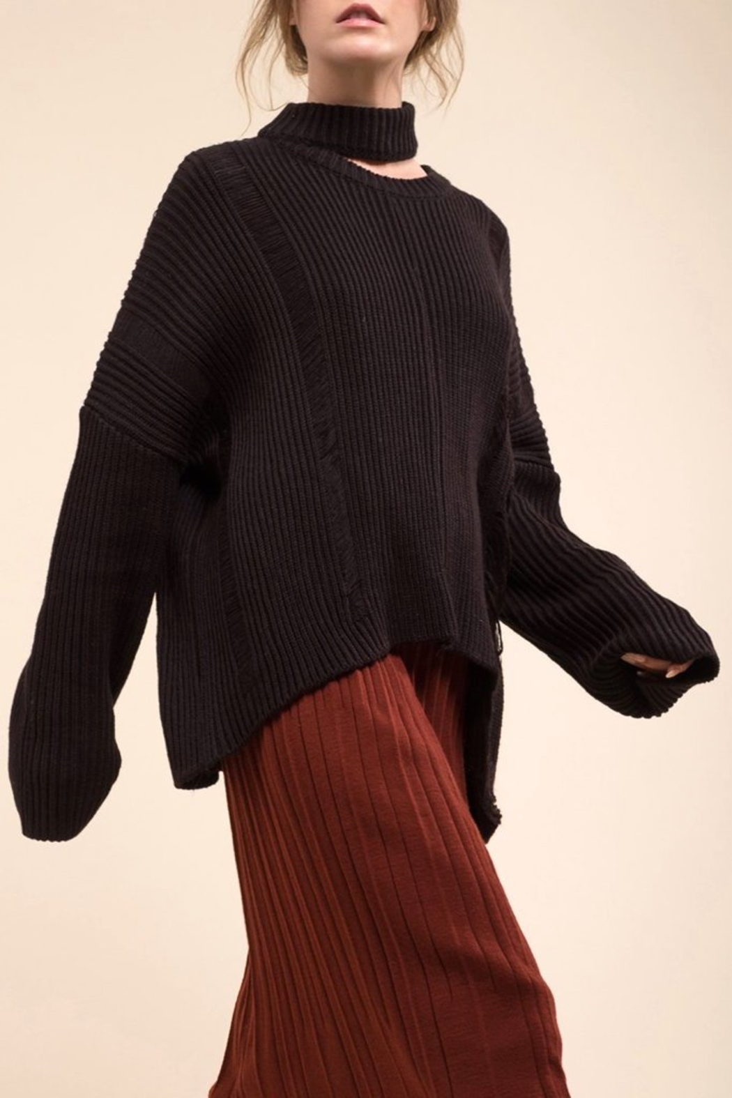 Moon River Asymmetric Destroyed Sweater - Front Full Image