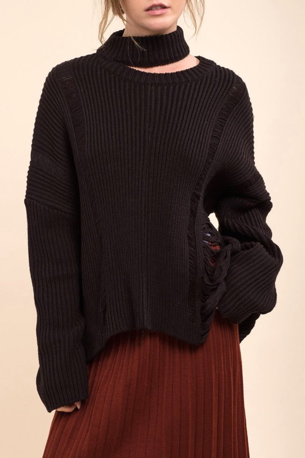 Moon River Asymmetric Destroyed Sweater - Main Image