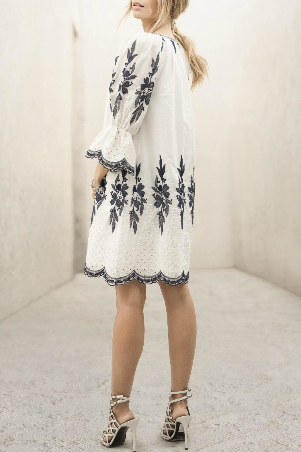 Moon River Embroidered Dress - Back Cropped Image