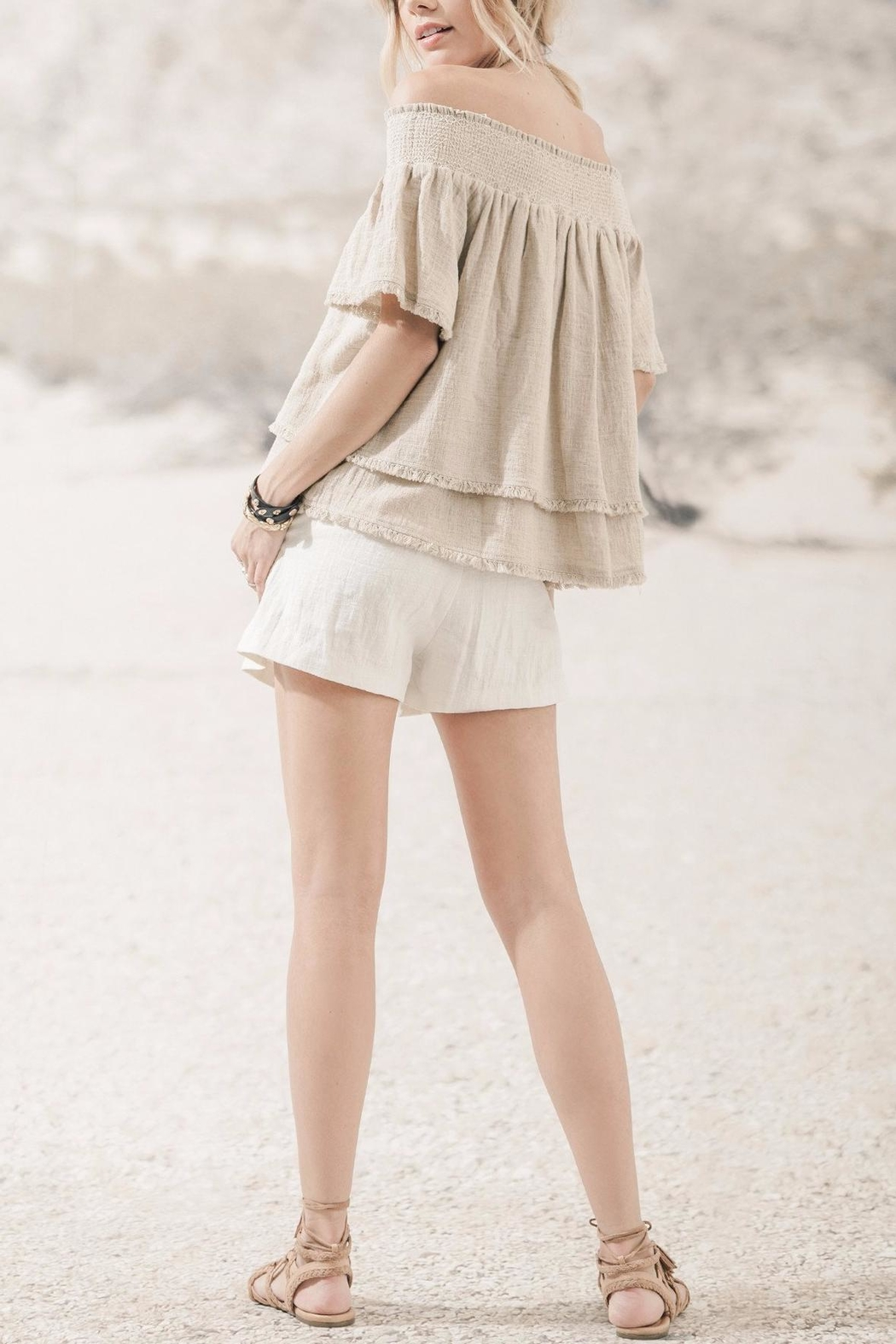 Moon River Beige Off Shoulder Top - Front Full Image