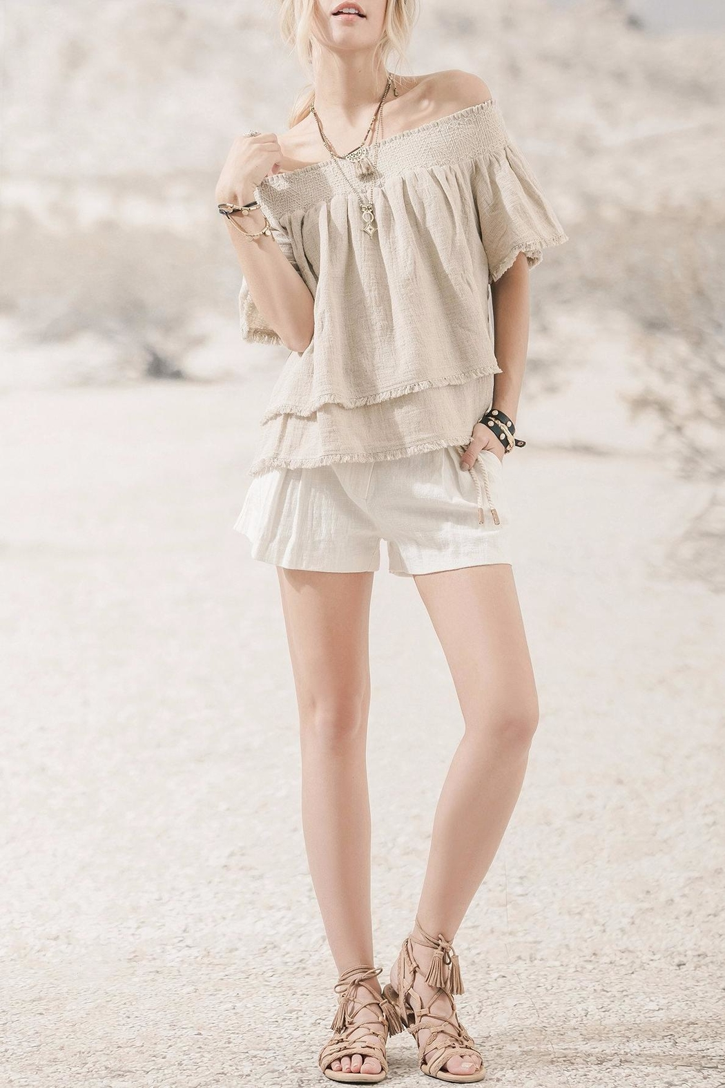Moon River Beige Off Shoulder Top - Main Image