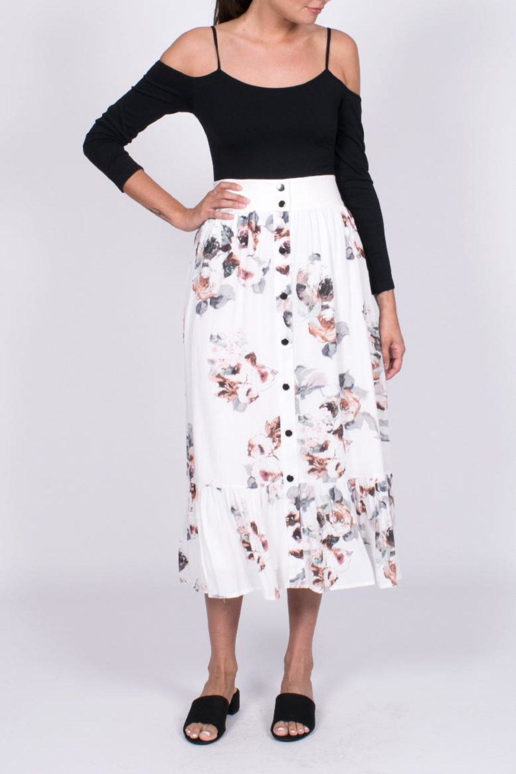 34042cba1dd Moon River Floral Midi Skirt from Virginia by mod soul — Shoptiques