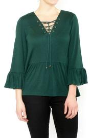 Moon River Green Tie Front Top - Product Mini Image