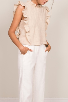 Shoptiques Product: Khaki Ruffle Top