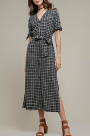 Moon River Navy Plaid Dress - Product Mini Image