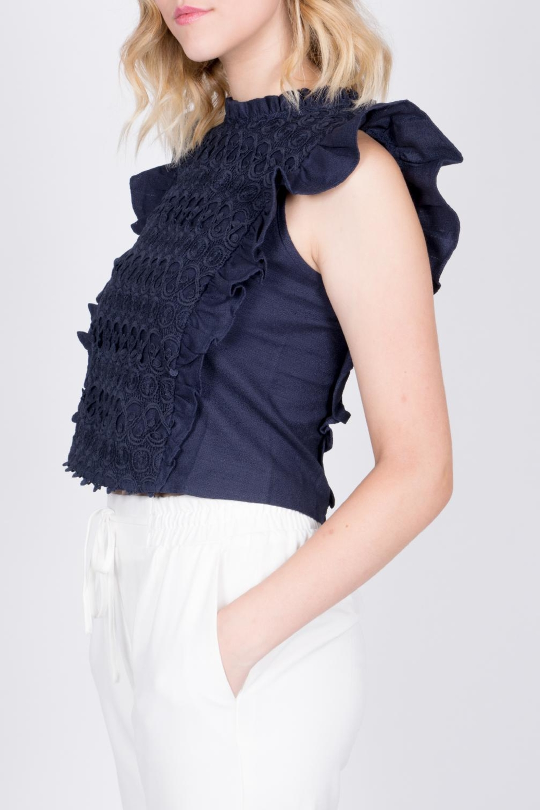 Moon River Navy Ruffle Top - Front Full Image