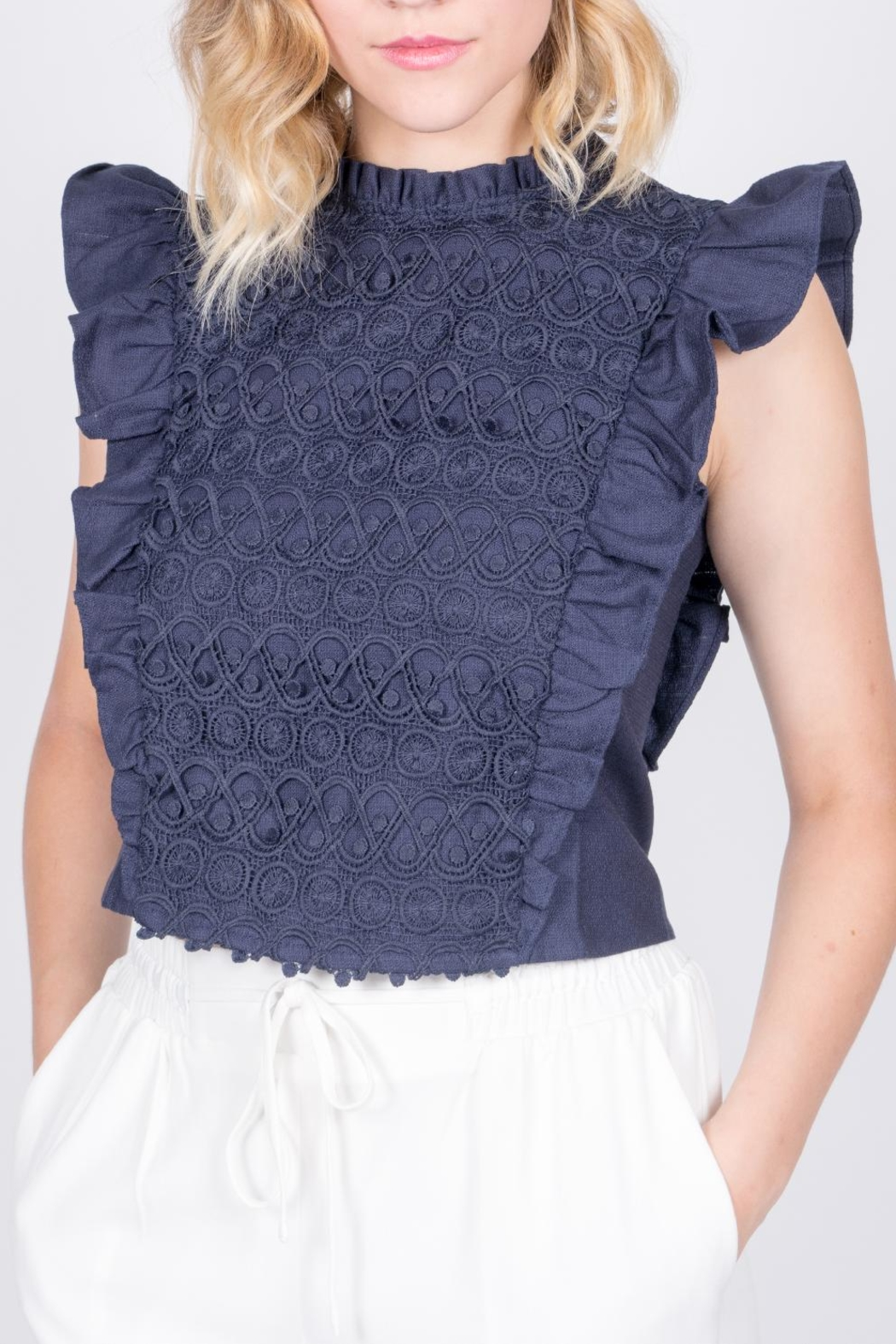 Moon River Navy Ruffle Top - Front Cropped Image