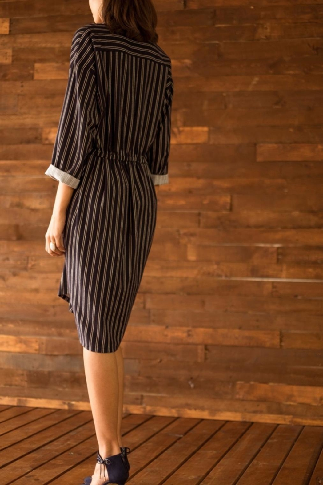 Moon River Striped Knot Front Dress - Side Cropped Image