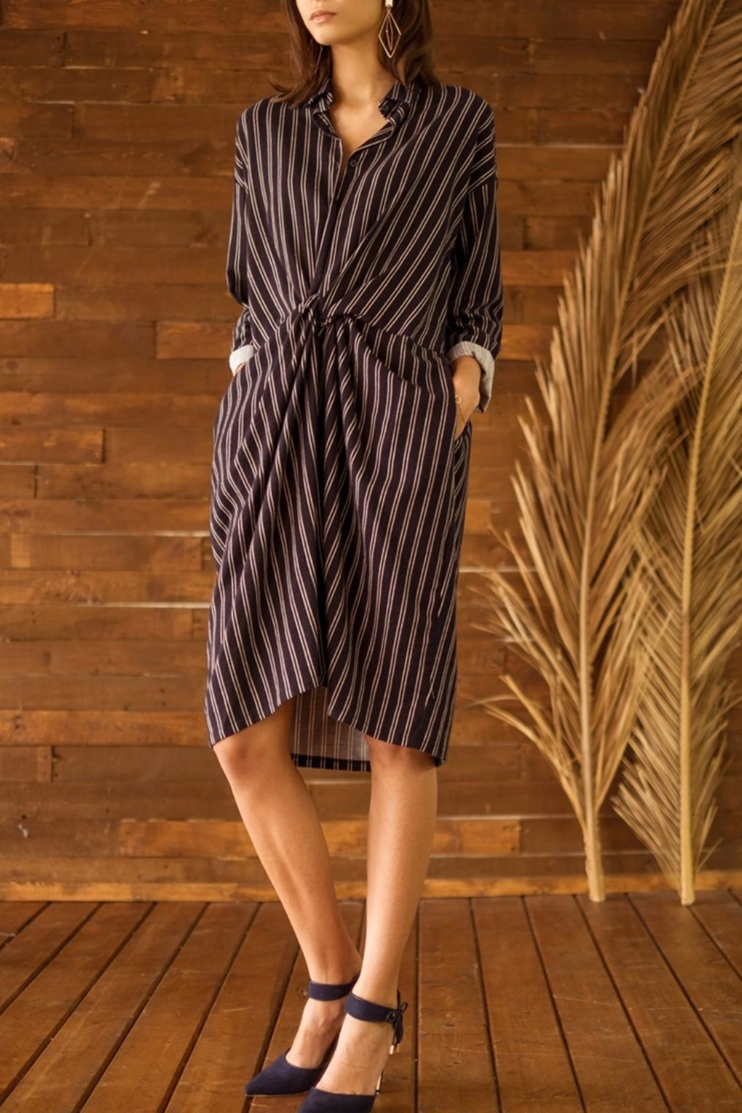 Moon River Striped Knot Front Dress - Main Image