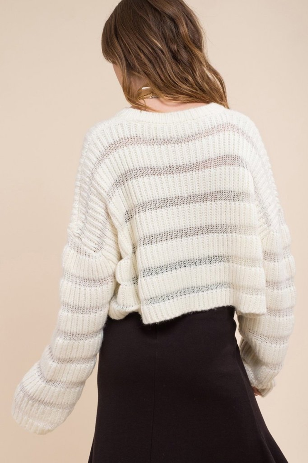 Moon River Variation Textured Sweater - Back Cropped Image