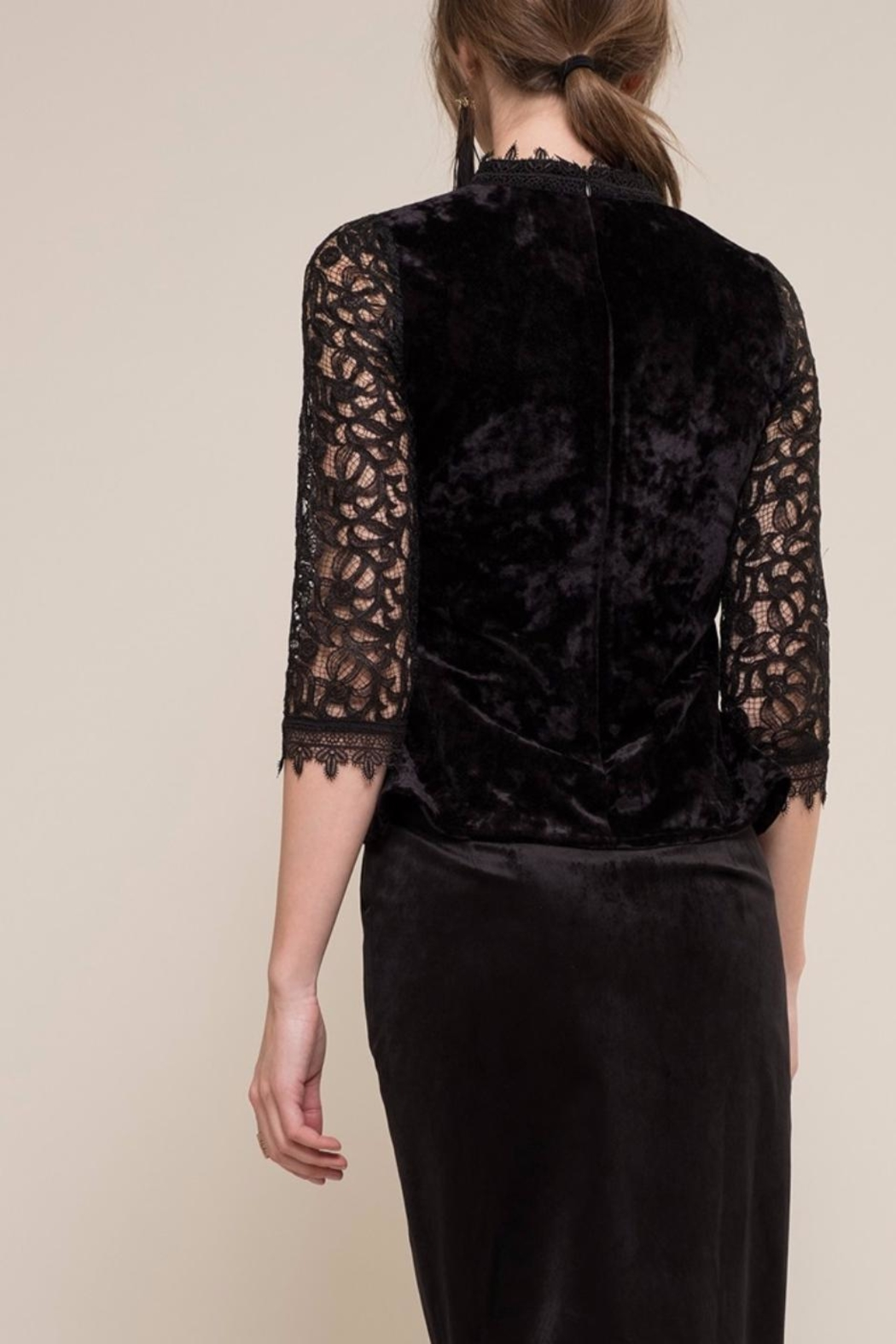 Moon River Velvet Lace Top - Side Cropped Image