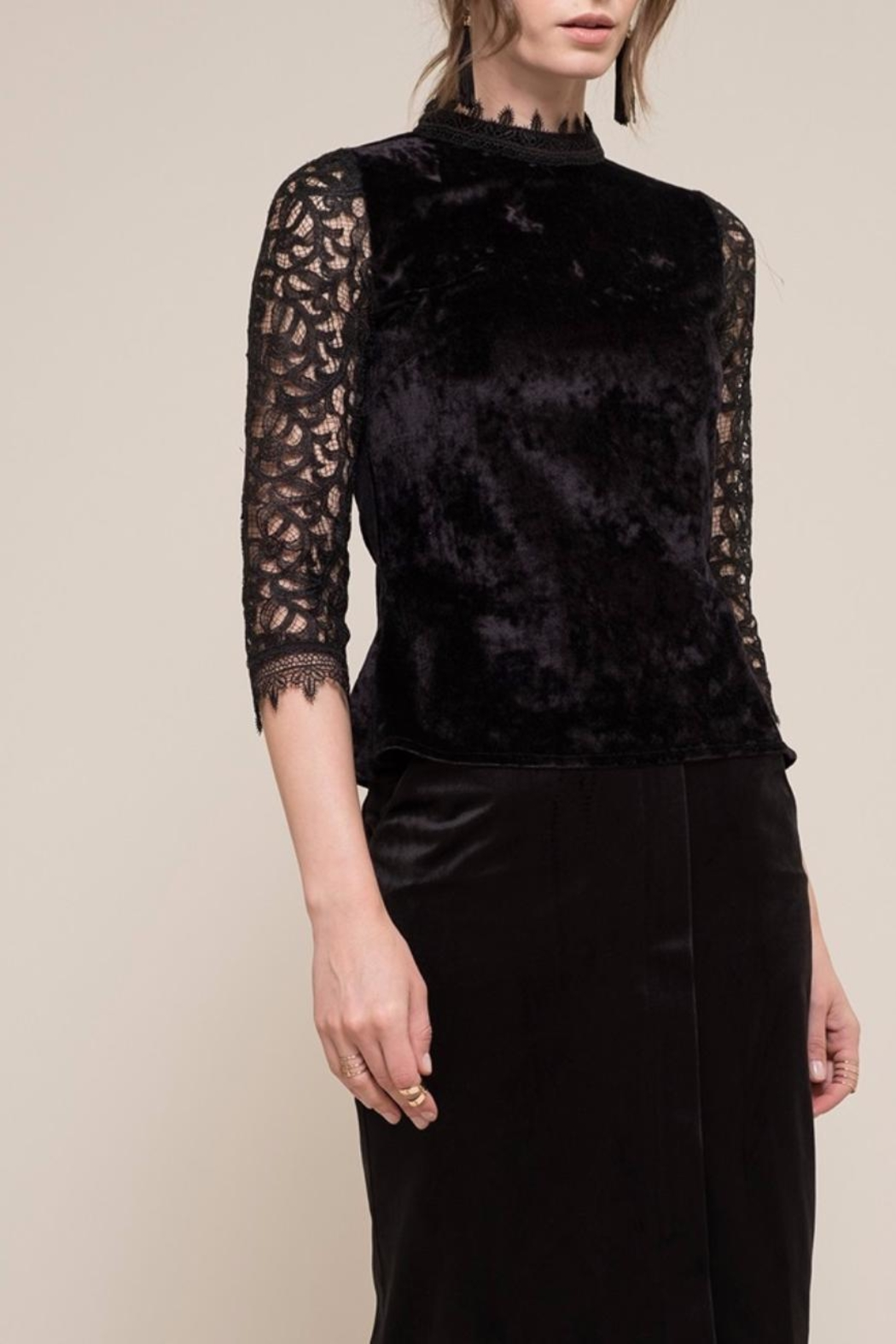 Moon River Velvet Lace Top - Front Cropped Image