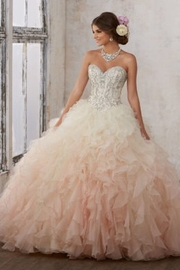 Morilee Moonstone Jeweled Beading on a Ruffled Organza Ballgown - Product Mini Image