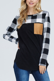 White Birch  Moose Plaid Sleeved Top - Front cropped