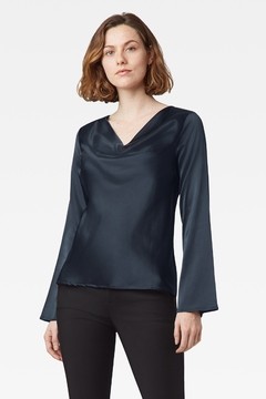 Ecru Moreau Drape Front Top, Dark Forest - Product List Image