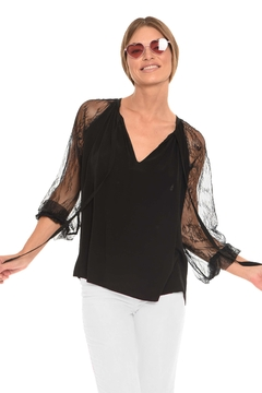 Muche et Muchette Morgan Lace-Sleeve Top - Product List Image