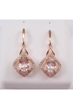 Margolin & Co Morganite and Diamond Dangle Drop Earrings Rose Gold Unique Gemstone Gift - Product List Image