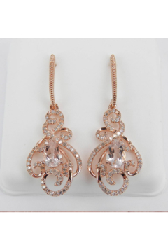 Margolin & Co Morganite and Diamond Dangle Drop Earrings Rose Pink Gold Unique Gemstone Gift - Product List Image