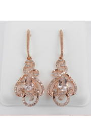 Margolin & Co Morganite and Diamond Dangle Drop Earrings Rose Pink Gold Unique Gemstone Gift - Product Mini Image