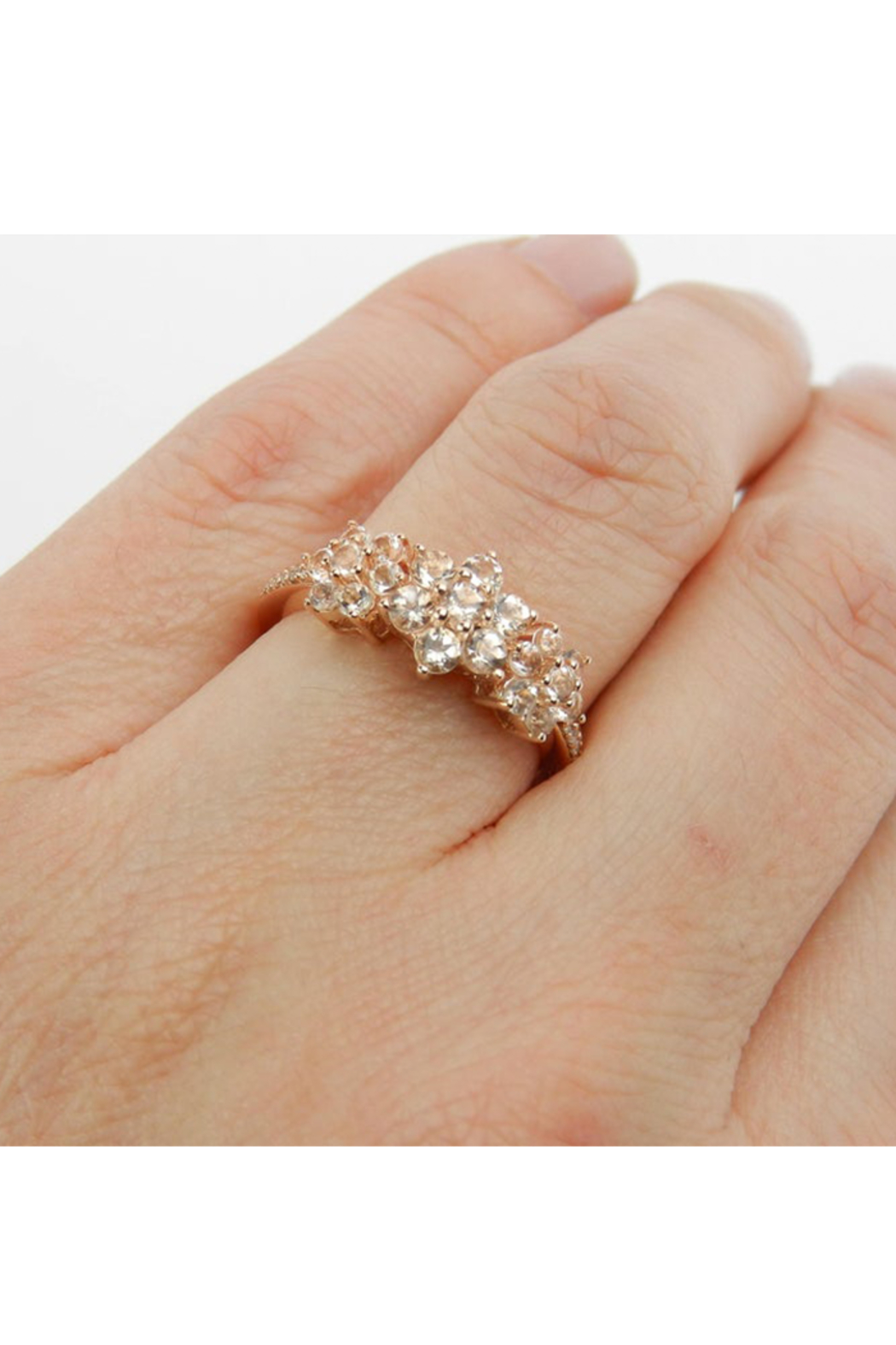 Margolin & Co Morganite and Diamond Flower Cluster Anniversary Ring Rose Pink Gold Size 7 - Back Cropped Image