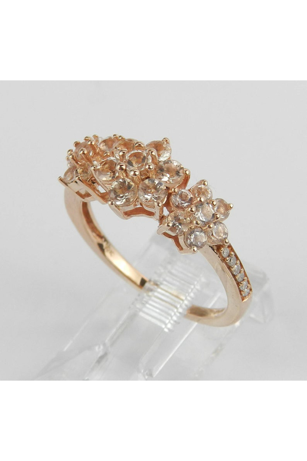 Margolin & Co Morganite and Diamond Flower Cluster Anniversary Ring Rose Pink Gold Size 7 - Side Cropped Image