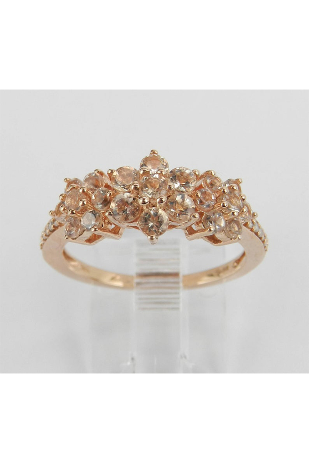 Margolin & Co Morganite and Diamond Flower Cluster Anniversary Ring Rose Pink Gold Size 7 - Main Image