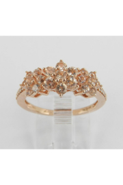 Margolin & Co Morganite and Diamond Flower Cluster Anniversary Ring Rose Pink Gold Size 7 - Product Mini Image