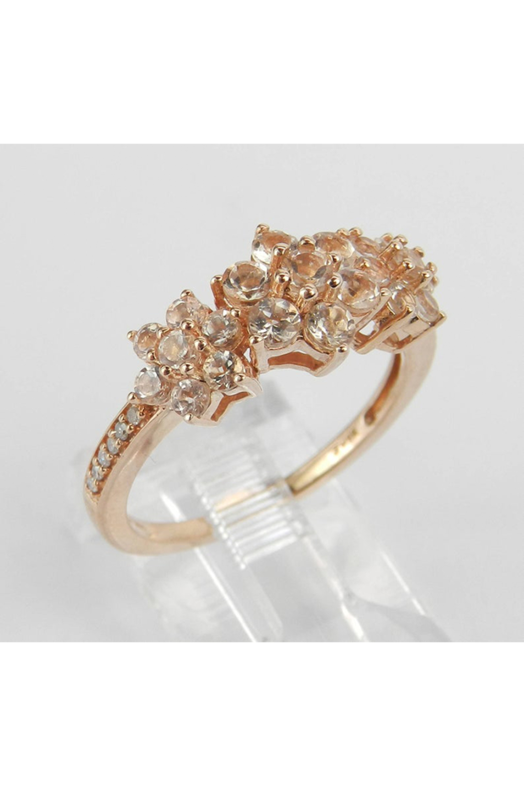 Margolin & Co Morganite and Diamond Flower Cluster Anniversary Ring Rose Pink Gold Size 7 - Front Full Image