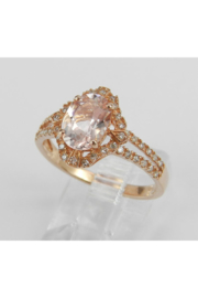 Margolin & Co Morganite and Diamond Halo Engagement Ring Rose Pink Gold Size 7.25 FREE Sizing - Side cropped
