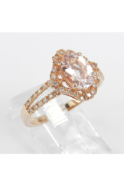 Margolin & Co Morganite and Diamond Halo Engagement Ring Rose Pink Gold Size 7.25 FREE Sizing - Front full body