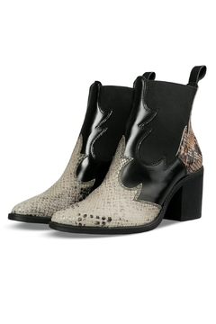 Morkas Shoes Ankle Bootie Beige Etched Snake - Product List Image