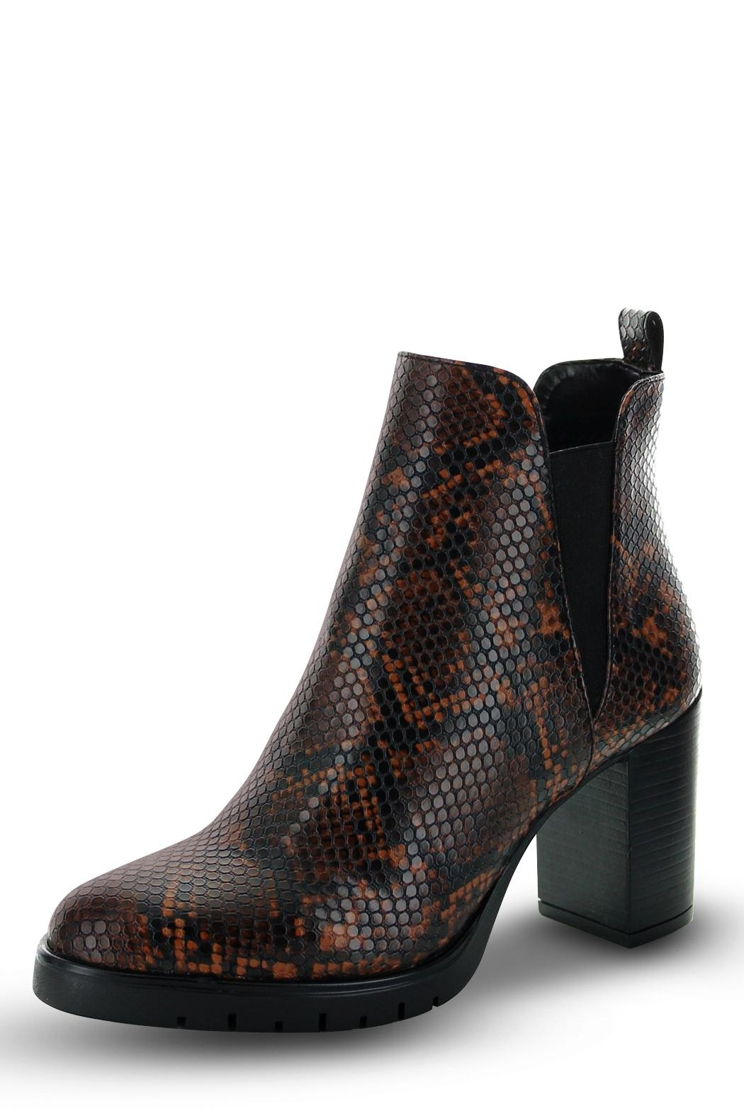 Morkas Shoes Ankle Bootie Brown Snake Etched - Main Image