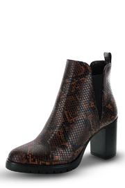 Morkas Shoes Ankle Bootie Brown Snake Etched - Front cropped