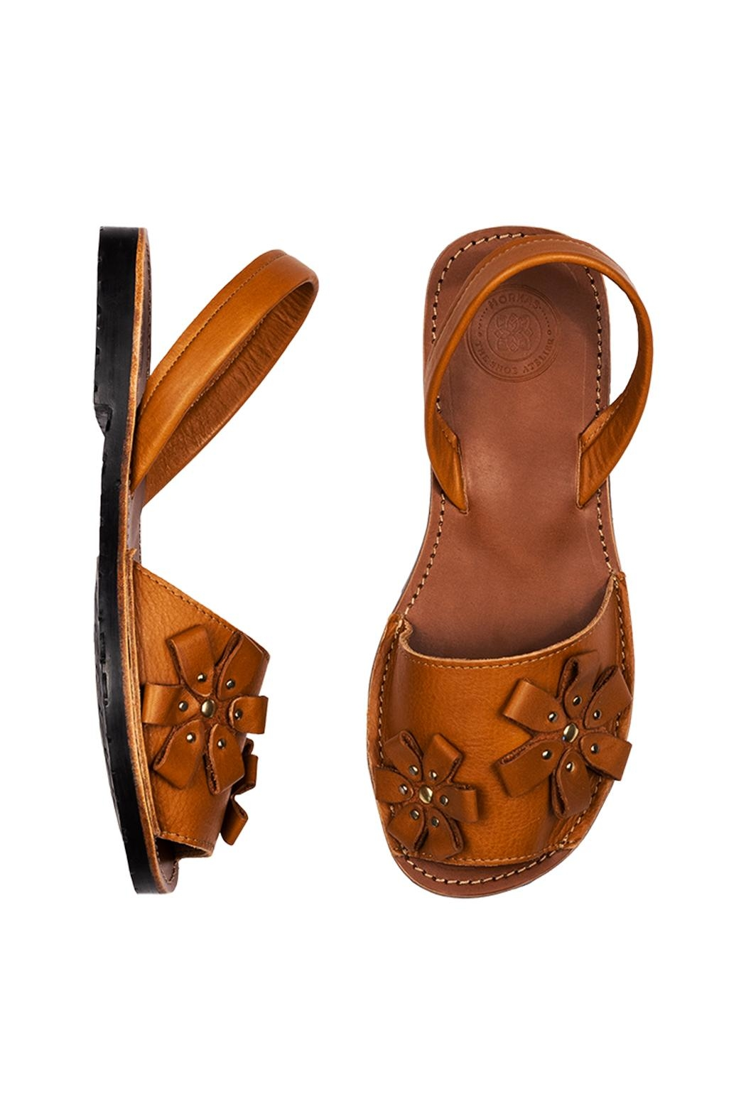 Morkas Shoes Avarca Camel Flowers - Front Full Image